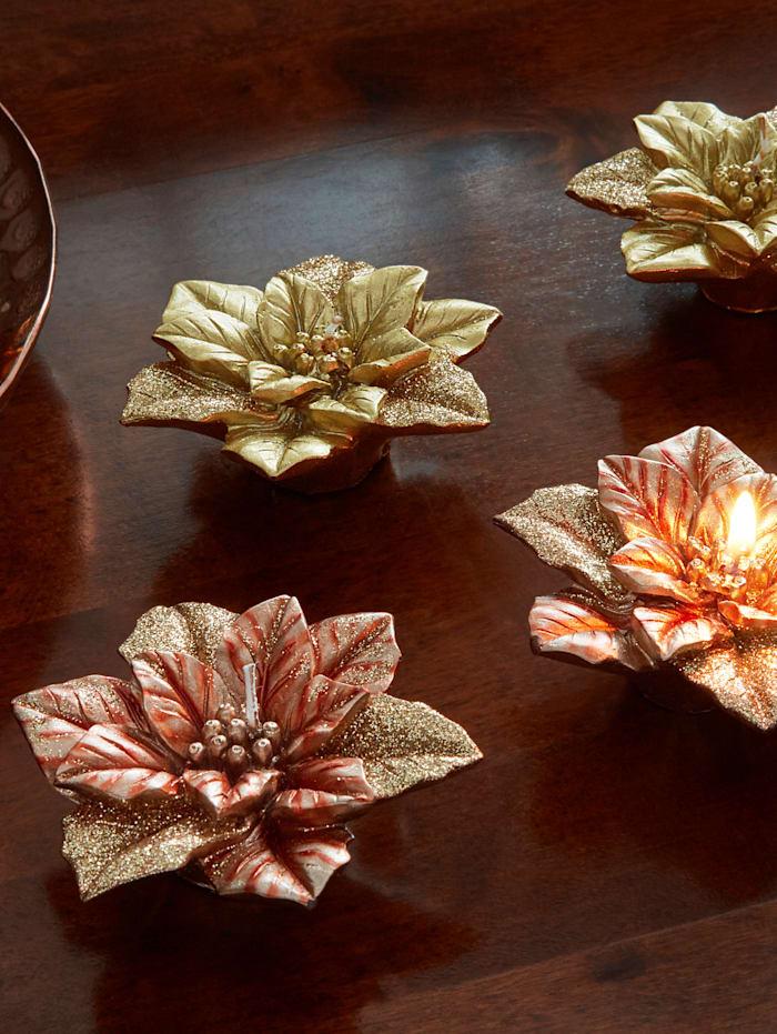 Tewa Set van 2 kaarsen Kerstster, Bronskleur