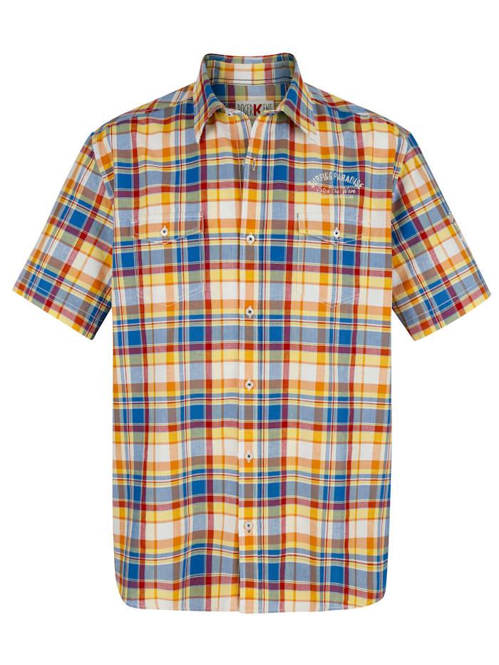 Roger Kent Overhemd met ingeweven ruitpatroon, Oranje/Blauw