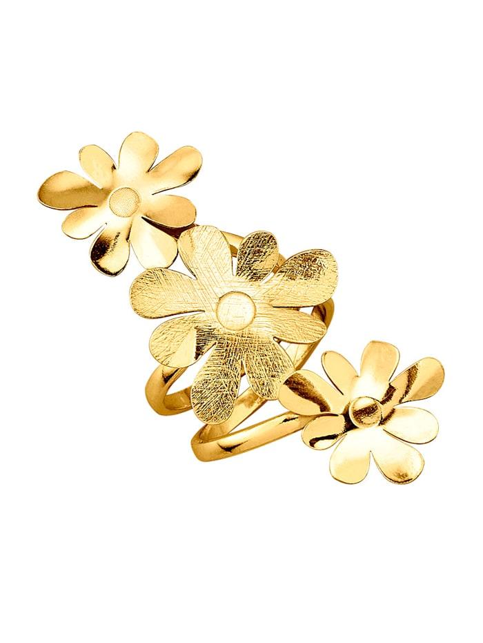 Damenring in Silber 925, vergoldet, Gelbgoldfarben