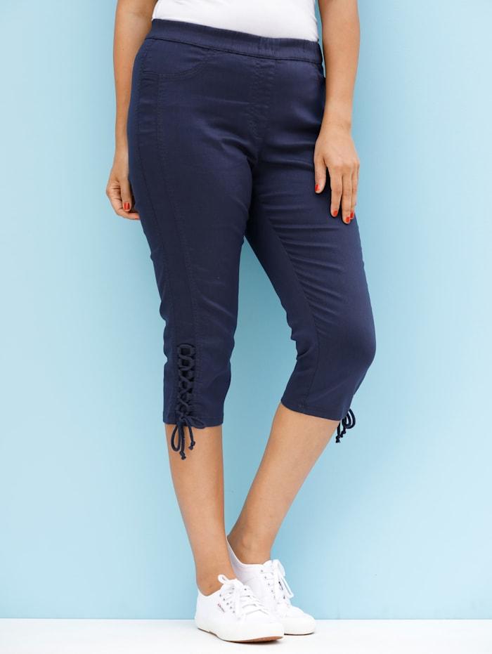 MIAMODA Caprihose mit seitlicher Schnürung am Bein, Marineblau