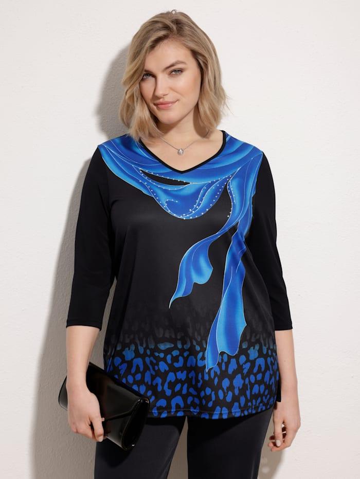 m. collection Shirt mit platziertem Druckdesign vorne, Schwarz/Royalblau