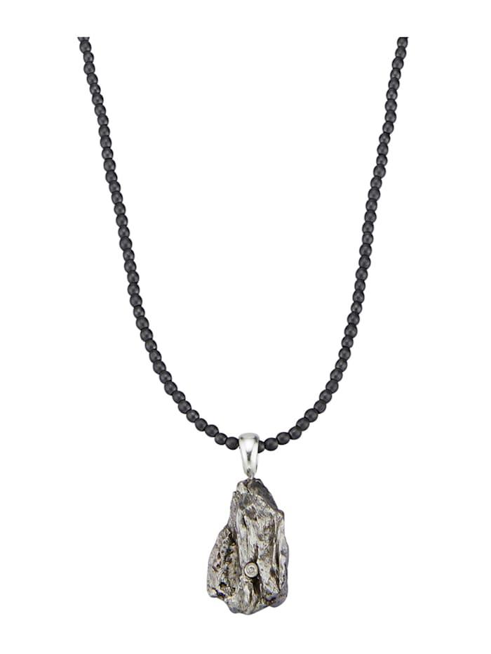 Diemer Farbstein Anhänger mit Kette mit Meteorit, Grau