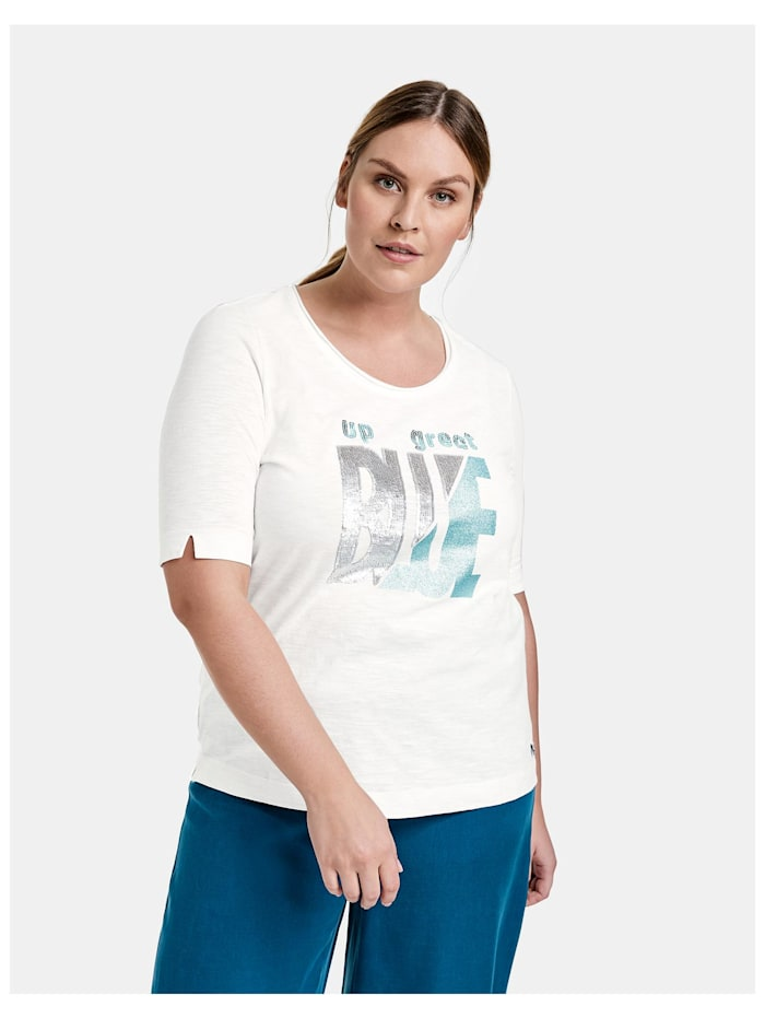 Samoon T-Shirt mit Pailletten aus GOTS zertifizierter Bio-Baumwolle, Offwhite gemustert