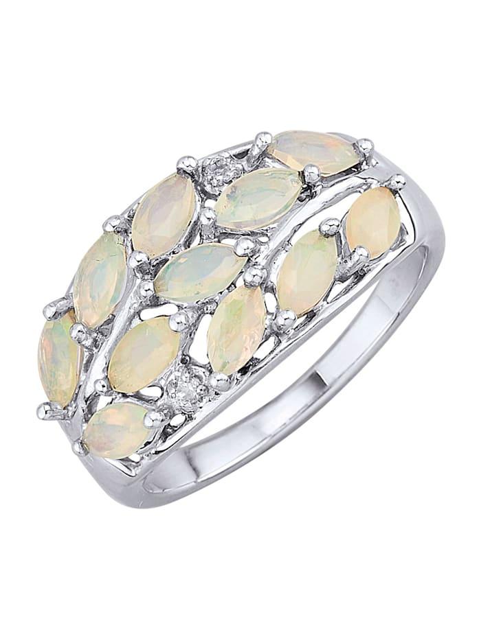 Damenring mit Opalen und Weißtopasen, Weiß