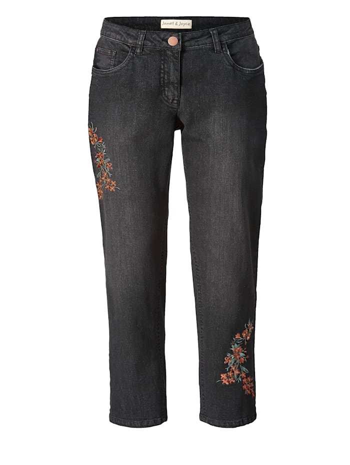 Slim Fit Jeans mit Stickerei knöchellang