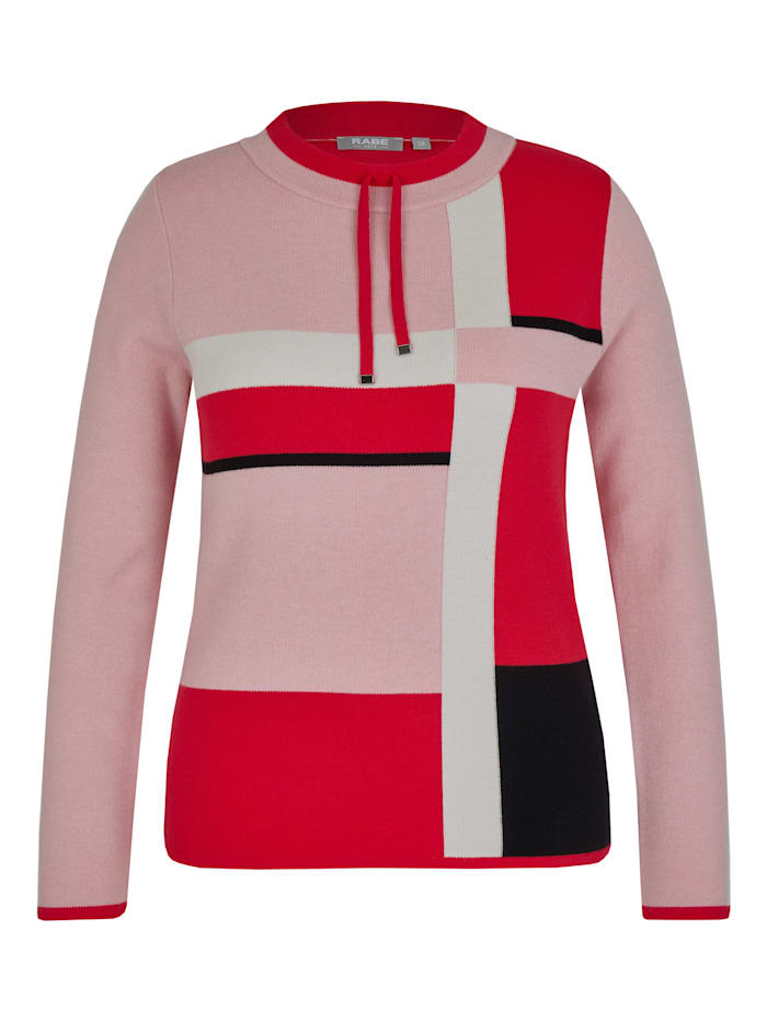 Rabe Pullover mit Colour-Blocks und Tunnelzug, KORALLE
