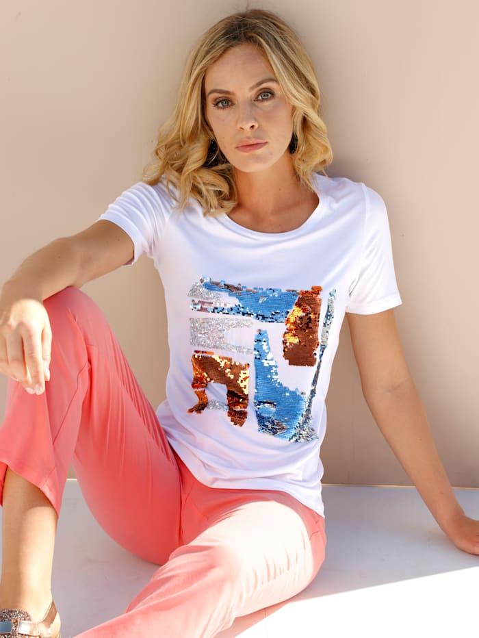 AMY VERMONT Shirt mit Pailletten im Vorderteil, Weiß/Rost