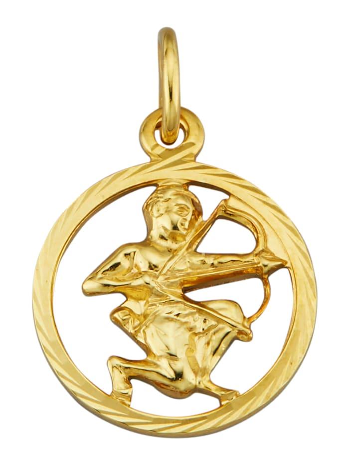Pendentif Signe du zodiaque Sagittaire en or jaune 585, Coloris or jaune