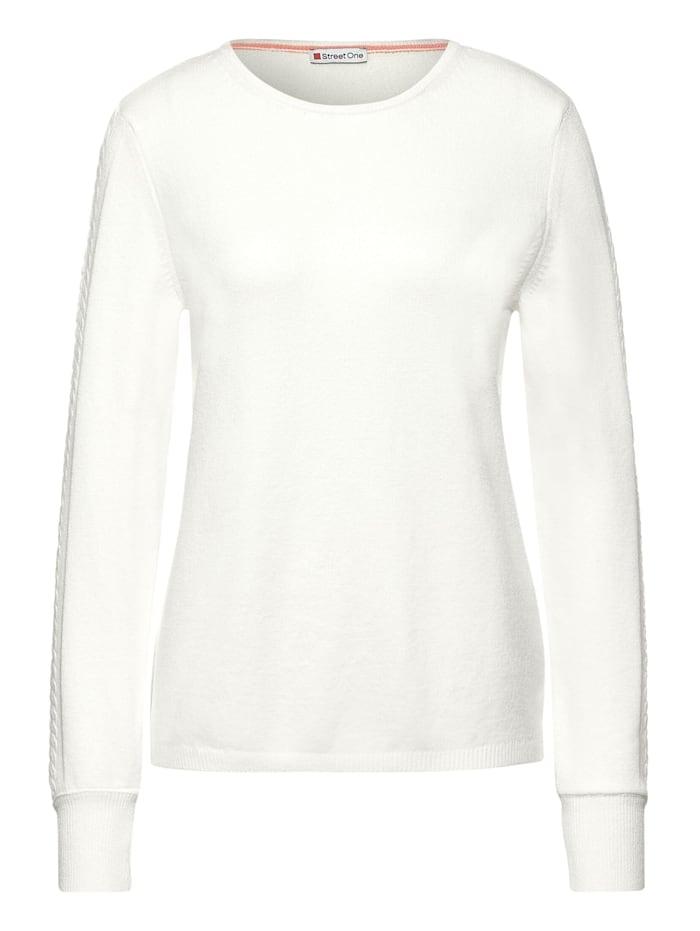 Street One Pullover mit Ärmeldetail, off white
