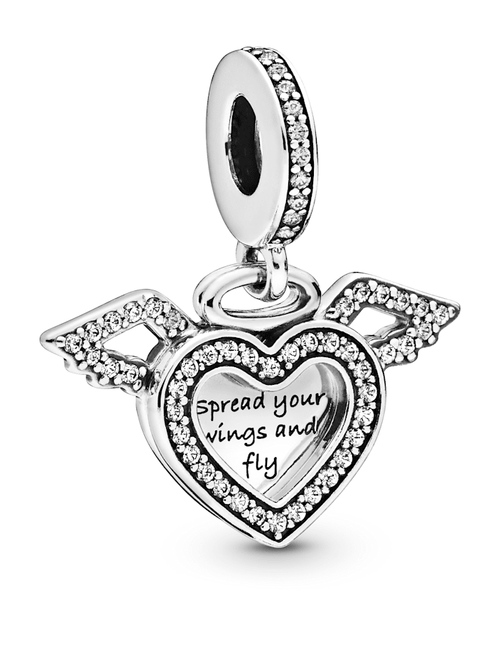 Pandora Charm-Anhänger -Herz & Engelsflügel- 798485C01, Silberfarben