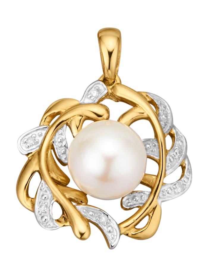 Diemer Perle Anhänger mit Akoya-Zuchtperle mit Akoya-Zuchtperle, Weiß