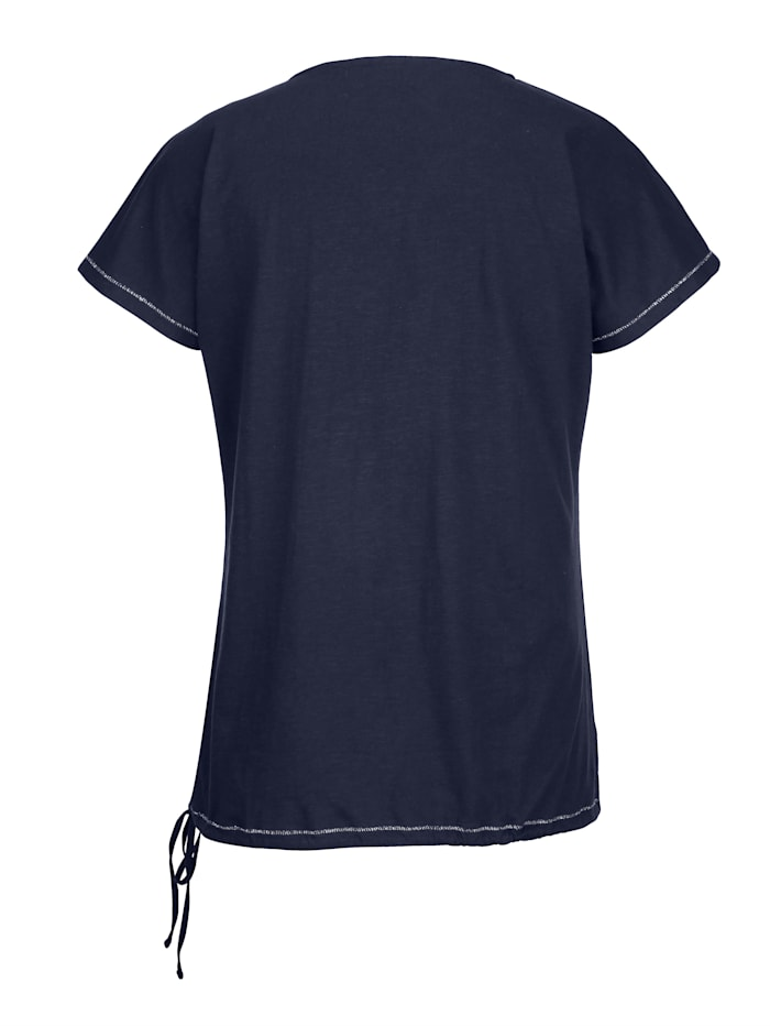Shirt mit Bindeband am Saum