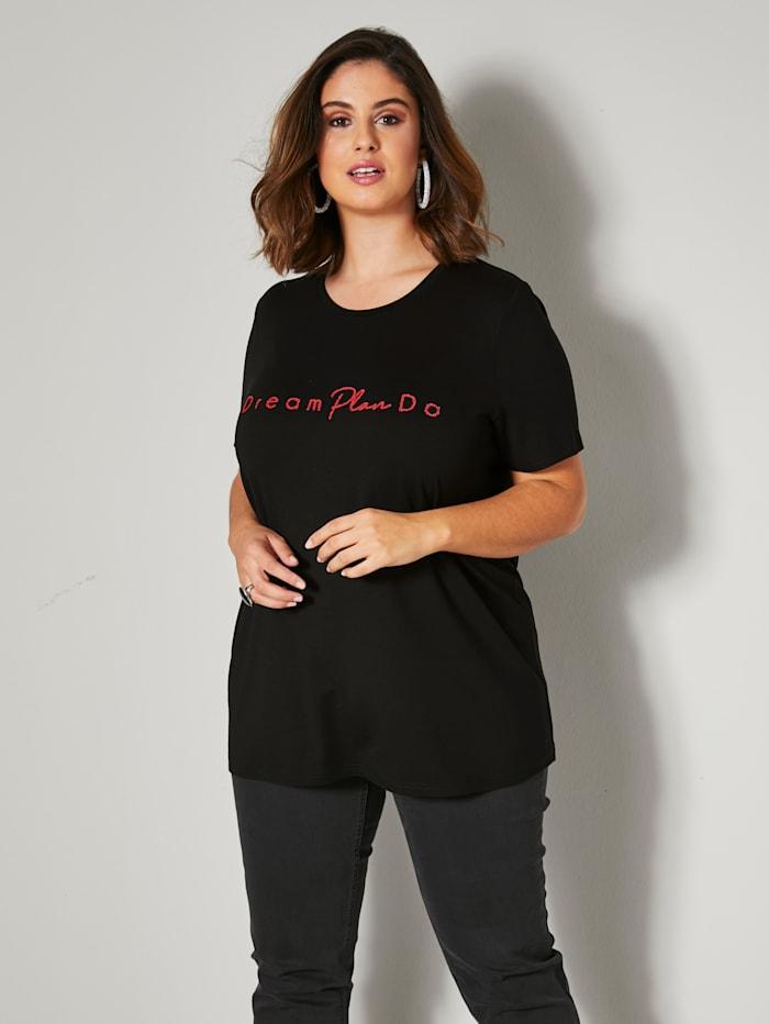Sara Lindholm Shirt met tekst van kleine kraaltjes, Zwart/Rood
