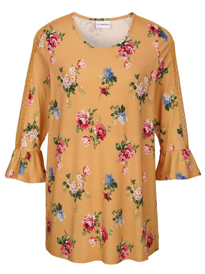 MIAMODA Shirt mit transparentem Spitzeneinsatz am Ärmel, Gelb/Multicolor