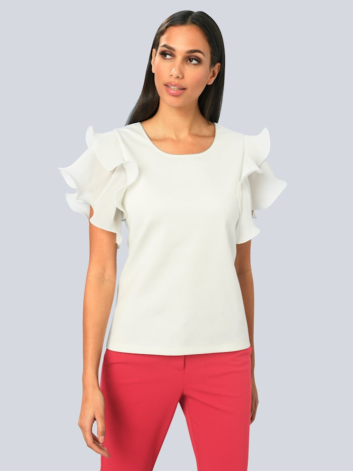Alba Moda Shirt mit modischer Armlösung, Weiß