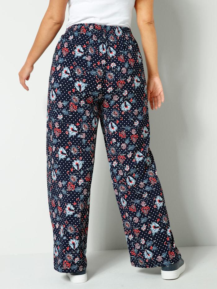 Džersej nohavice s kvetinovým a bodkovaným vzorom