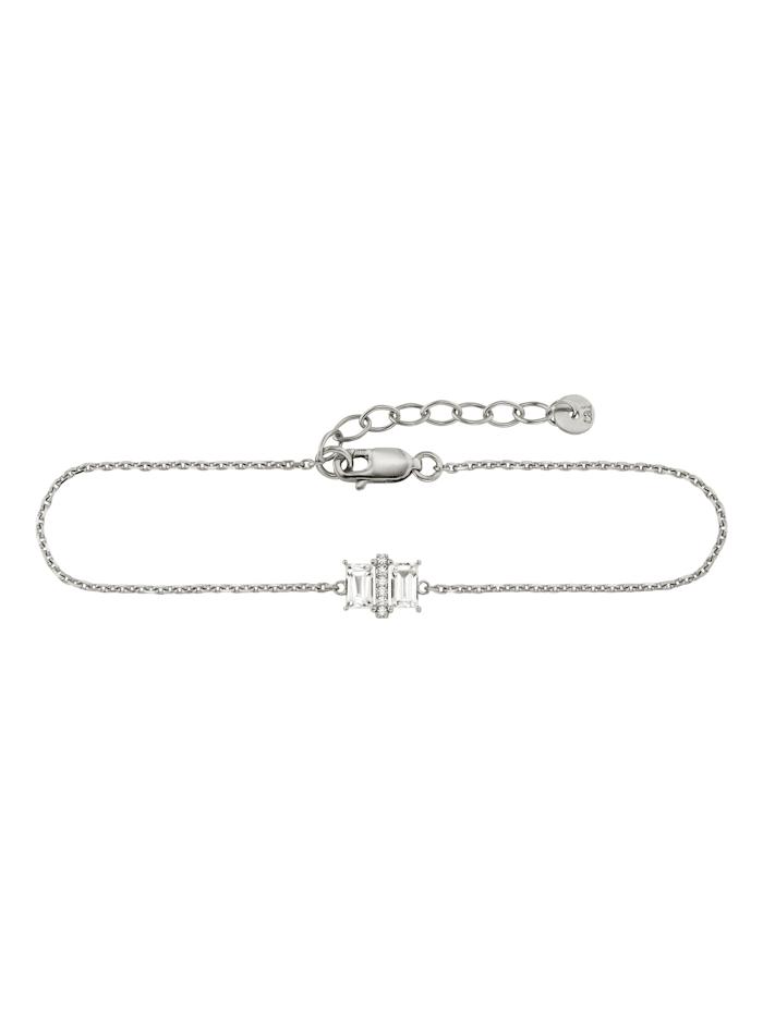 CAI Armband 925/- Sterling Silber Weißtopas 17+3cm Glänzend 0,69ct, Silbergrau