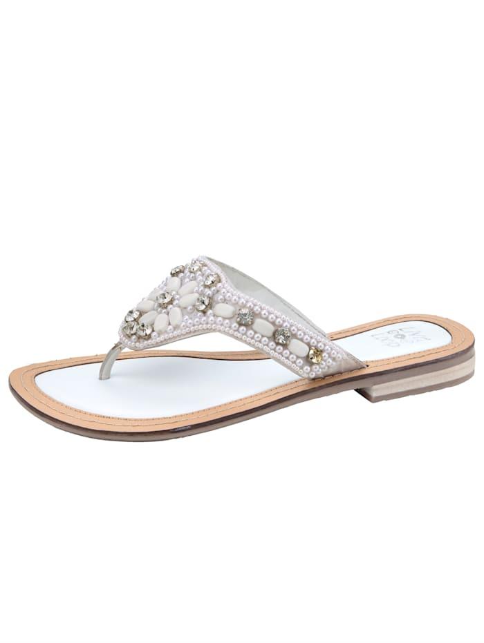 Liva Loop Tongs avec petites perles fantaisie, Blanc