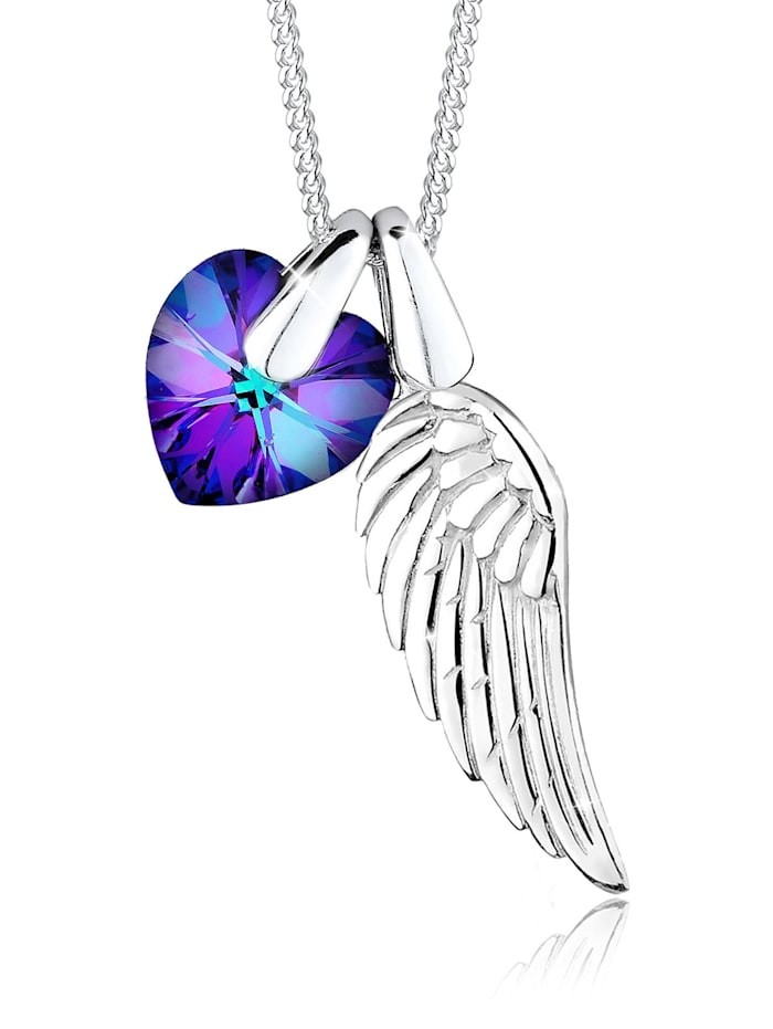 Elli Halskette Flügel Herz Schutz Kristalle 925 Silber, Violett