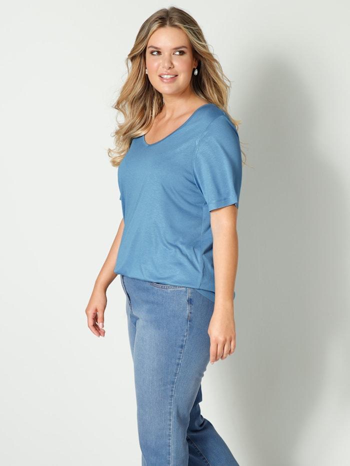 Janet & Joyce Shirt aus reiner Viskose, Jeansblau