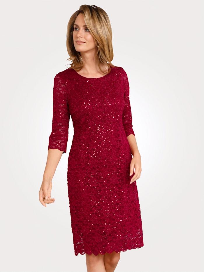 MONA Kleid mit Spitze und Pailletten, Rot