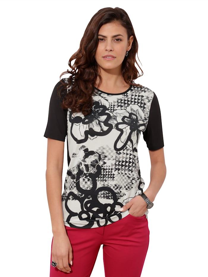 AMY VERMONT Shirt mit floralem Muster, Weiß/Schwarz