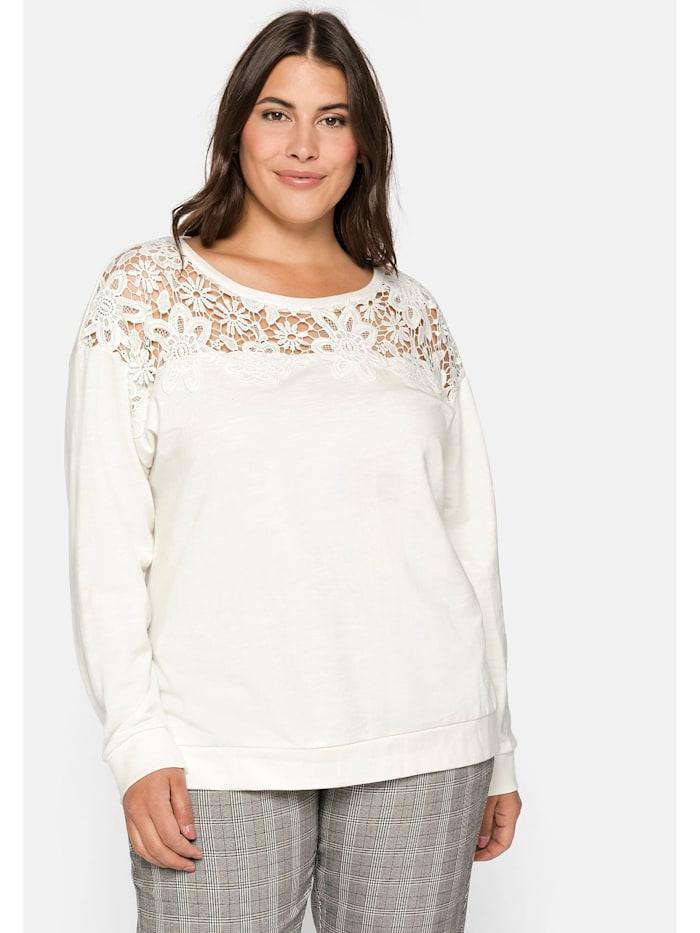 Sheego Sheego Sweatshirt aus leichter Baumwollqualität, offwhite