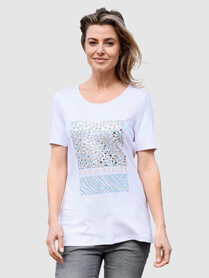 basically you Shirt mit platziertem Druck, Weiß/Hellblau
