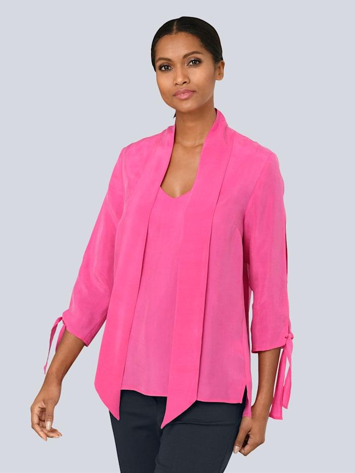Alba Moda Bluse mit Schluppenbändern, Pink