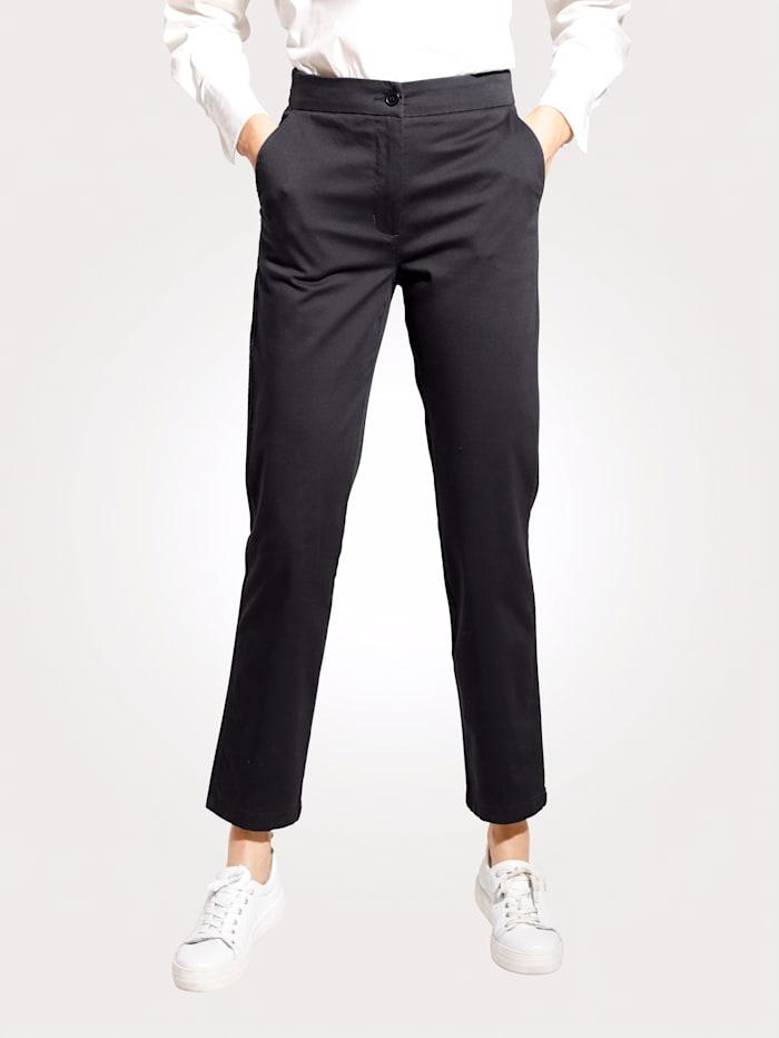 MONA Pantalon à ceinture rayée partiellement extensible, Noir