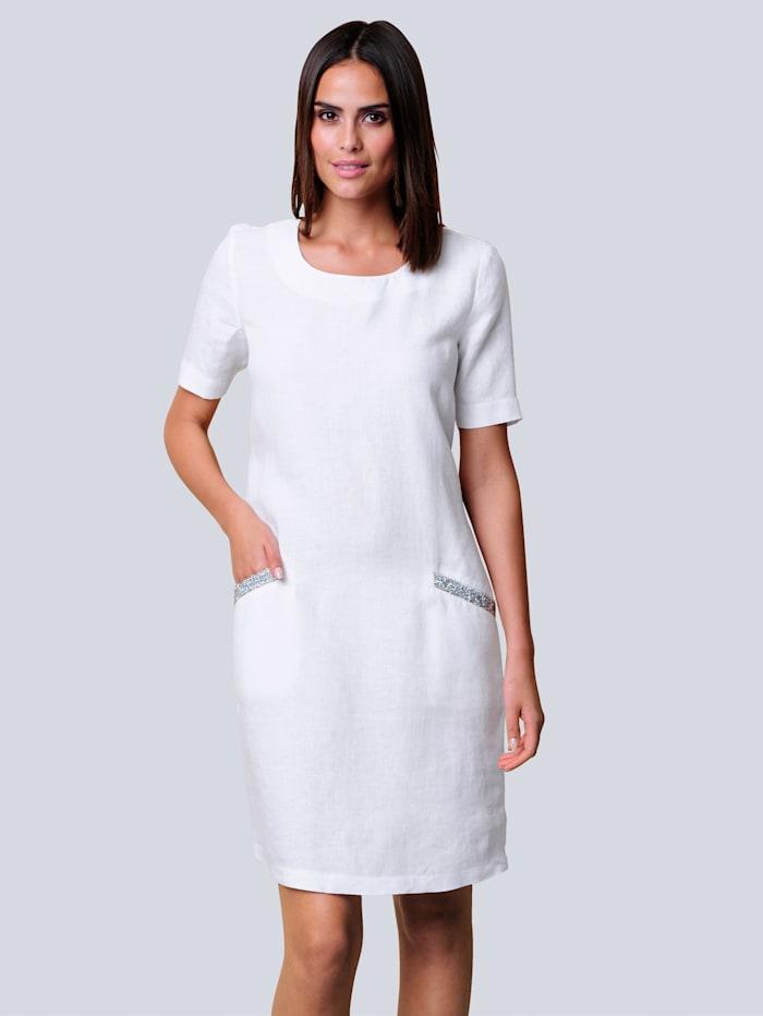Alba Moda Kleid aus reiner sommerlicher Leinenqualität, Weiß