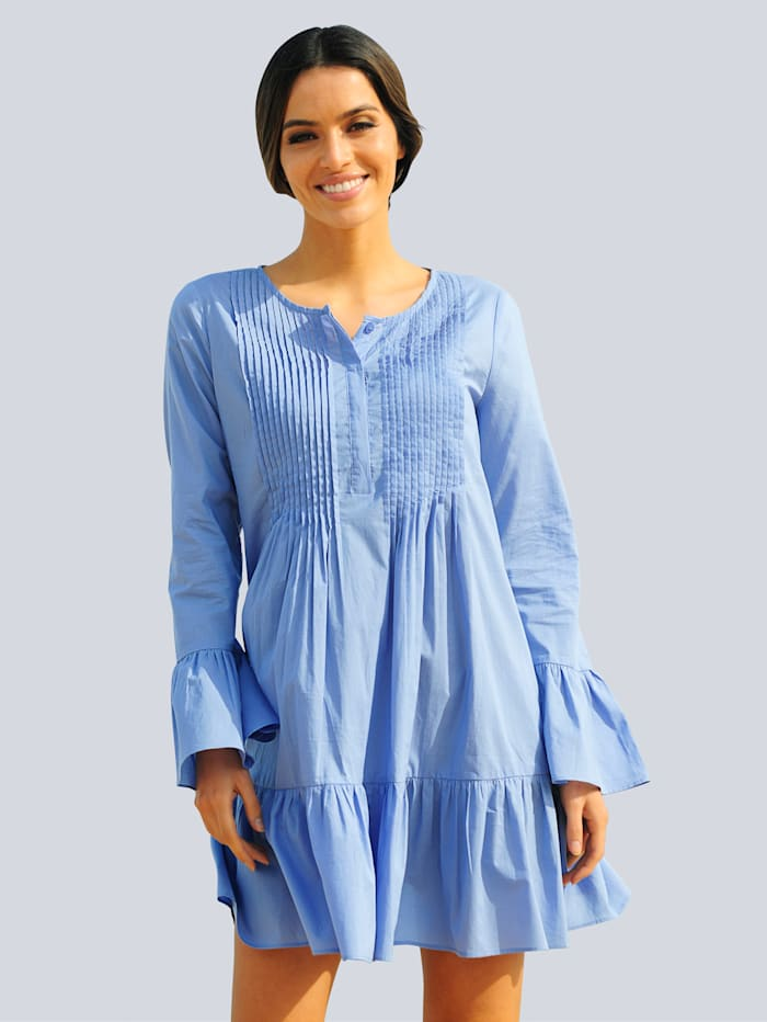 Alba Moda Strandkleid mit Biesen verziert, Blau