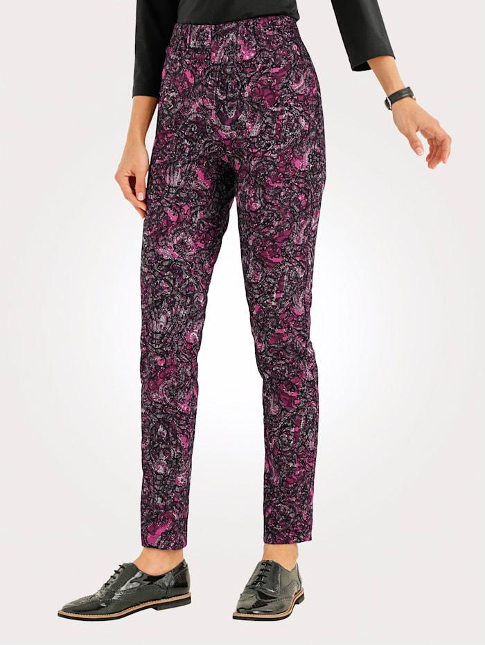 MONA Instapbroek van jacquard, Pink/Zwart/Grijs