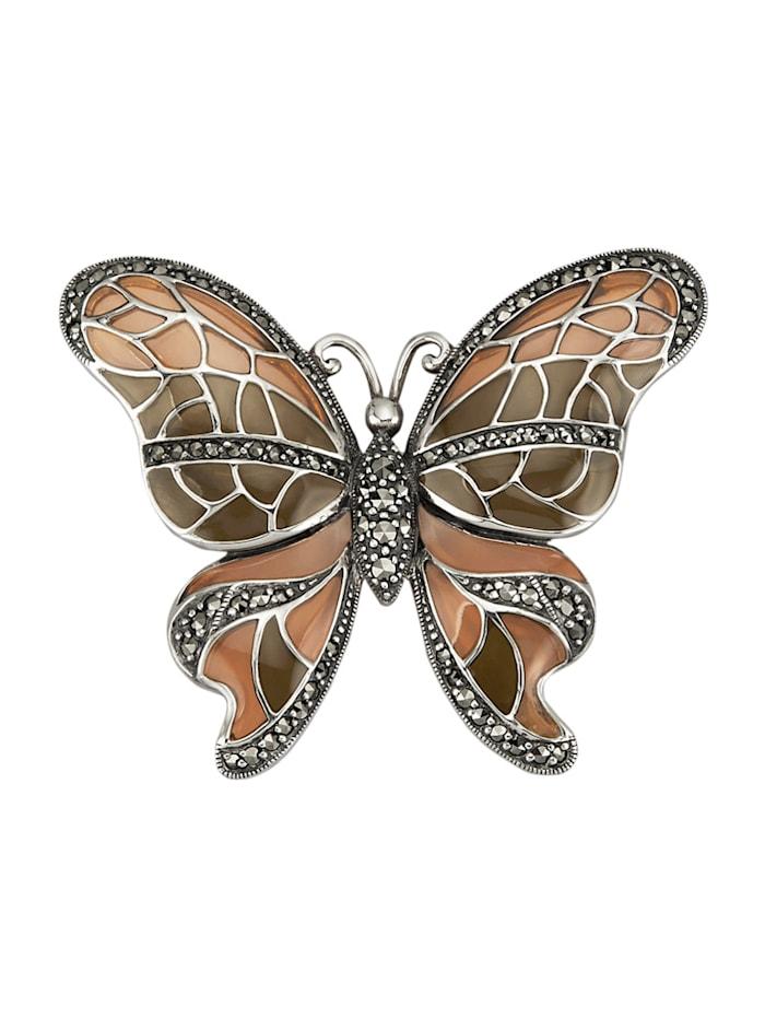 Esse Broche papillon à motif papillon, Marron