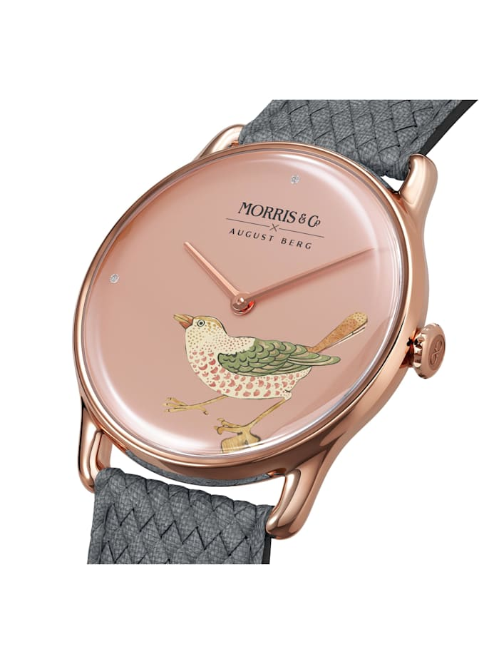 Uhr MORRIS & CO Rose Gold Bird Grey Perlon 30mm