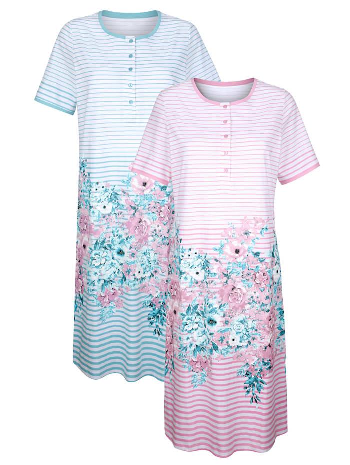 Harmony Nachthemden per 2 stuks met modieuze galonprint, Wit/Jadegroen/Oudroze