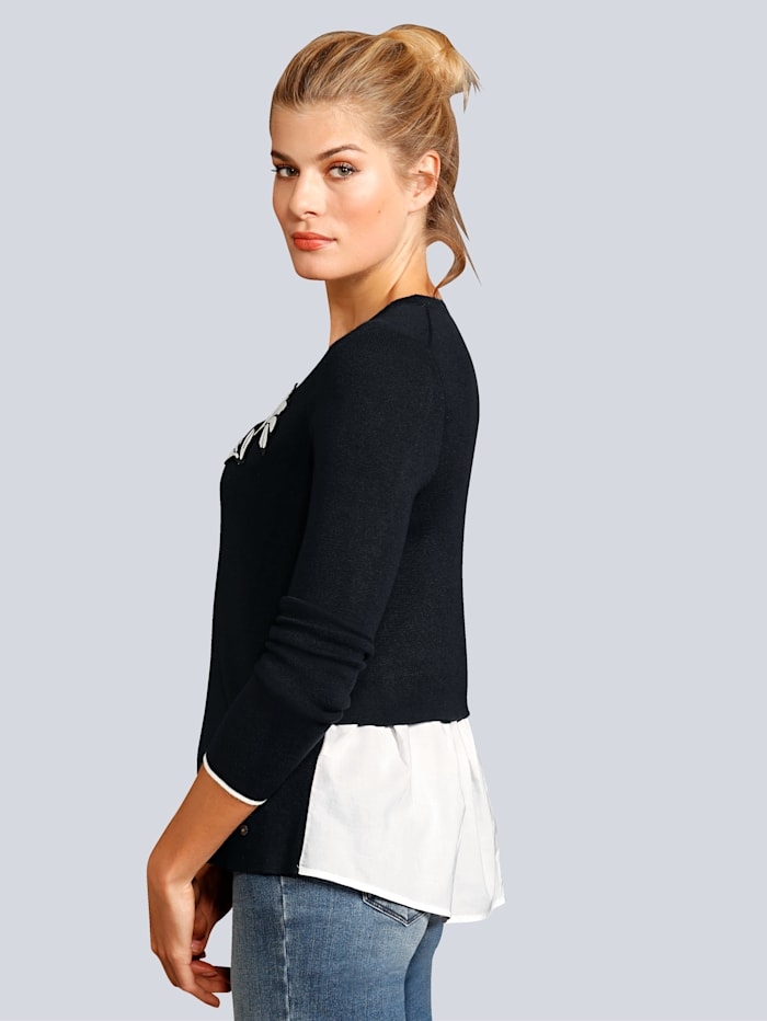 Pullover tonale Applikation auf dem linken Vorderteil