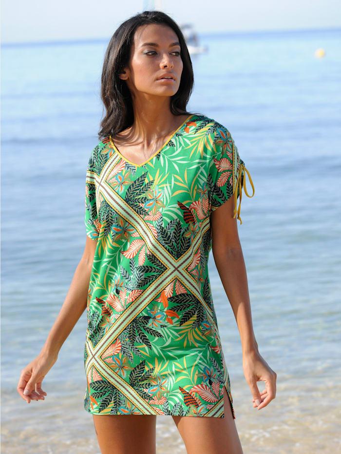 Alba Moda Strandshirt mit Raffungen, Grün-Bunt