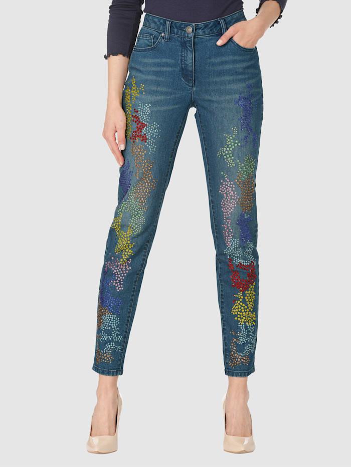AMY VERMONT Jeans mit bunter Strassteindekoration, Blau