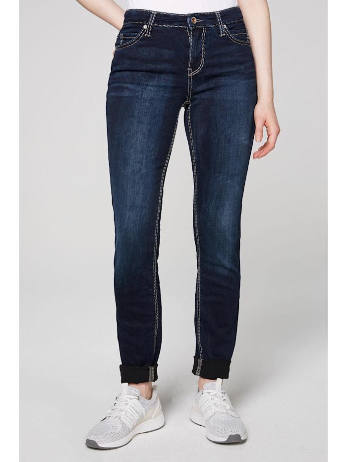 SOCCX Slim Fit Jeans HE:DI mit Kontrastnähten, dark blue