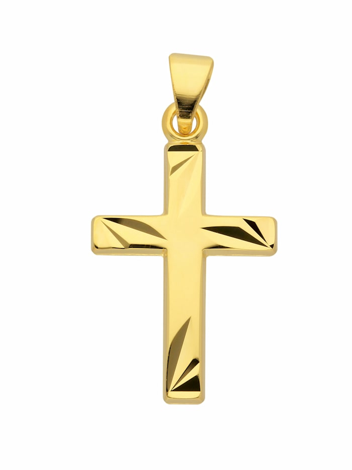 1001 Diamonds 1001 Diamonds Damen & Herren Goldschmuck 585 Gold Kreuz Anhänger, gold