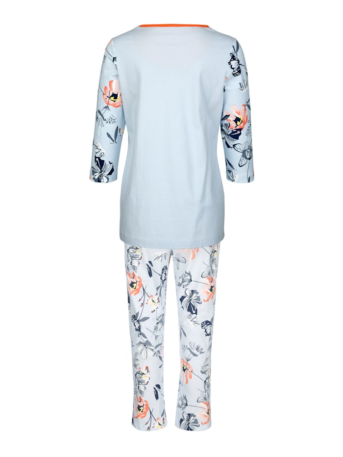 Schlafanzug mit hübscher Kontrastpaspelierung am Ausschnitt