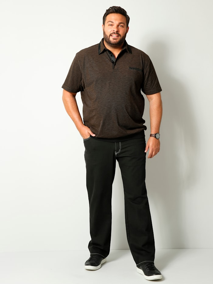 Men Plus Poloshirt met speciale pasvorm, Zwart/Wit/Cognac