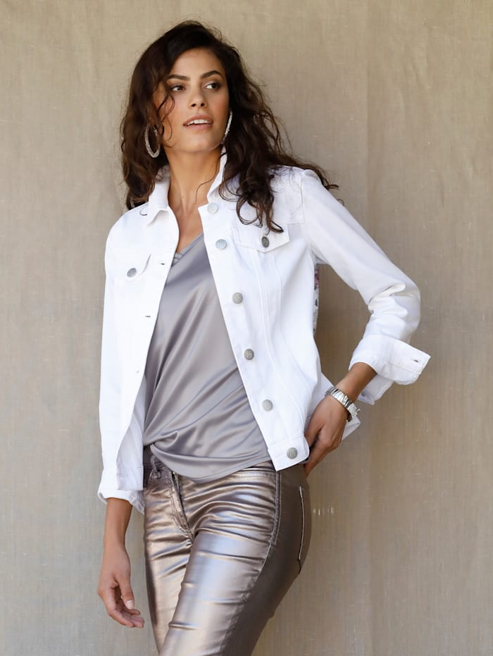 AMY VERMONT Jeansjacke mit Druck im Rückteil, Weiß/Multicolor