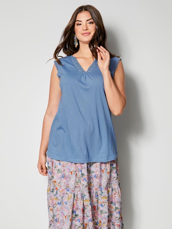 Angel of Style Top aus reiner Baumwolle, Blau