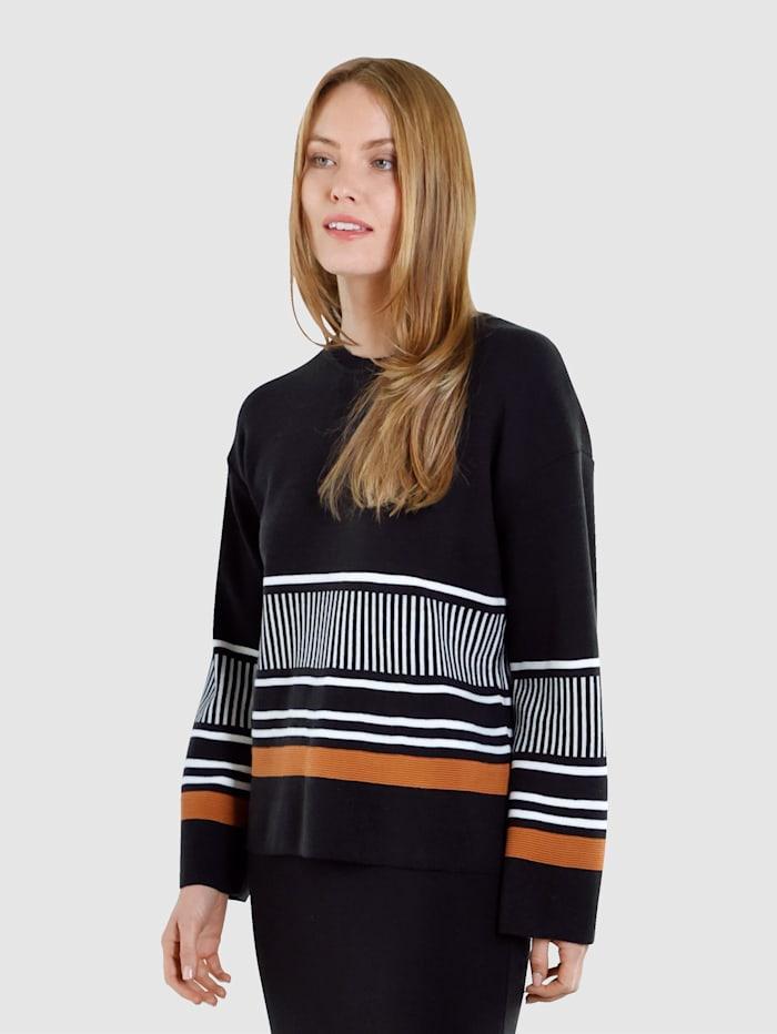 Laura Kent Pullover mit modernem Streifendesign, Schwarz/Haselnuss