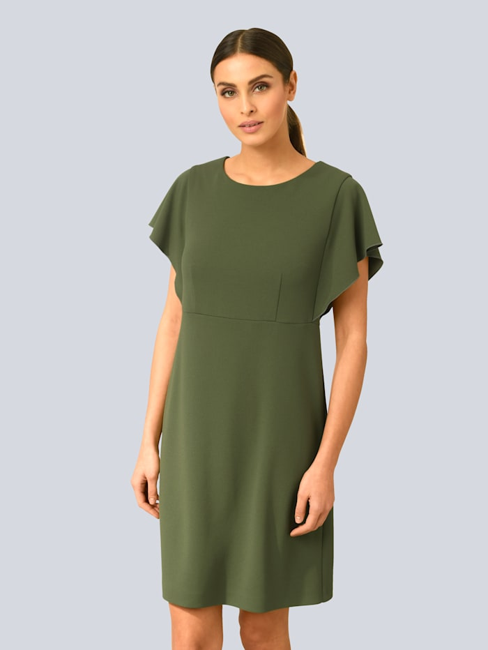 Alba Moda Kleid mit modischen Volantärmeln, Grün