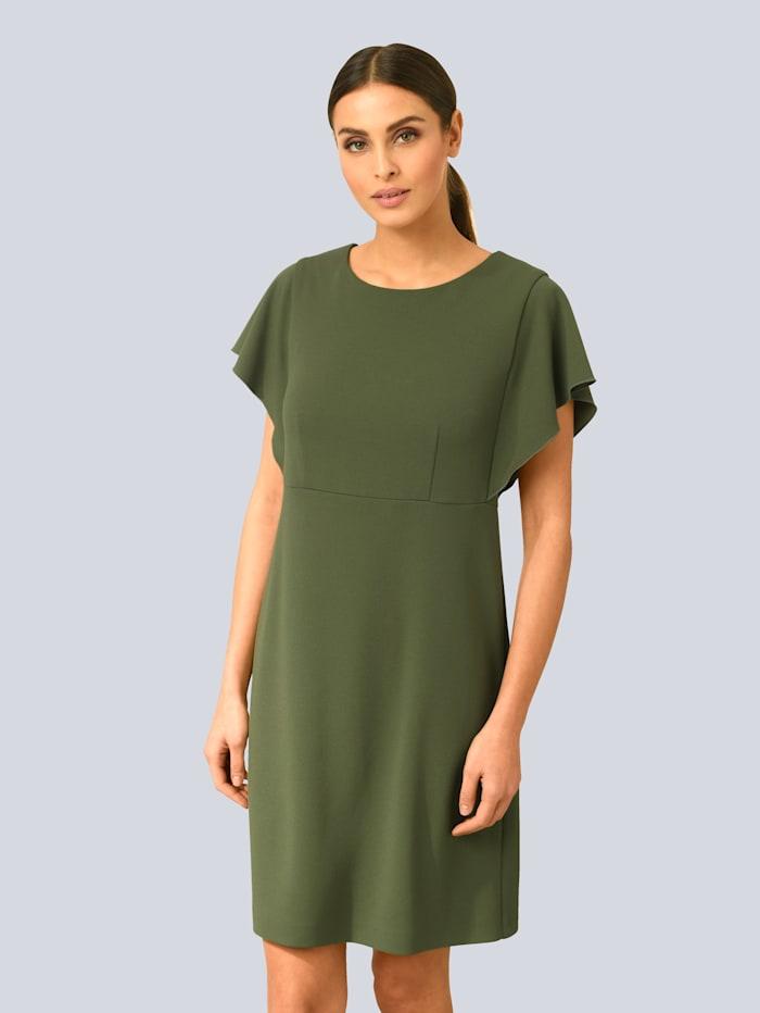 Alba Moda Šaty s modernými volánmi na rukávoch, Zelená