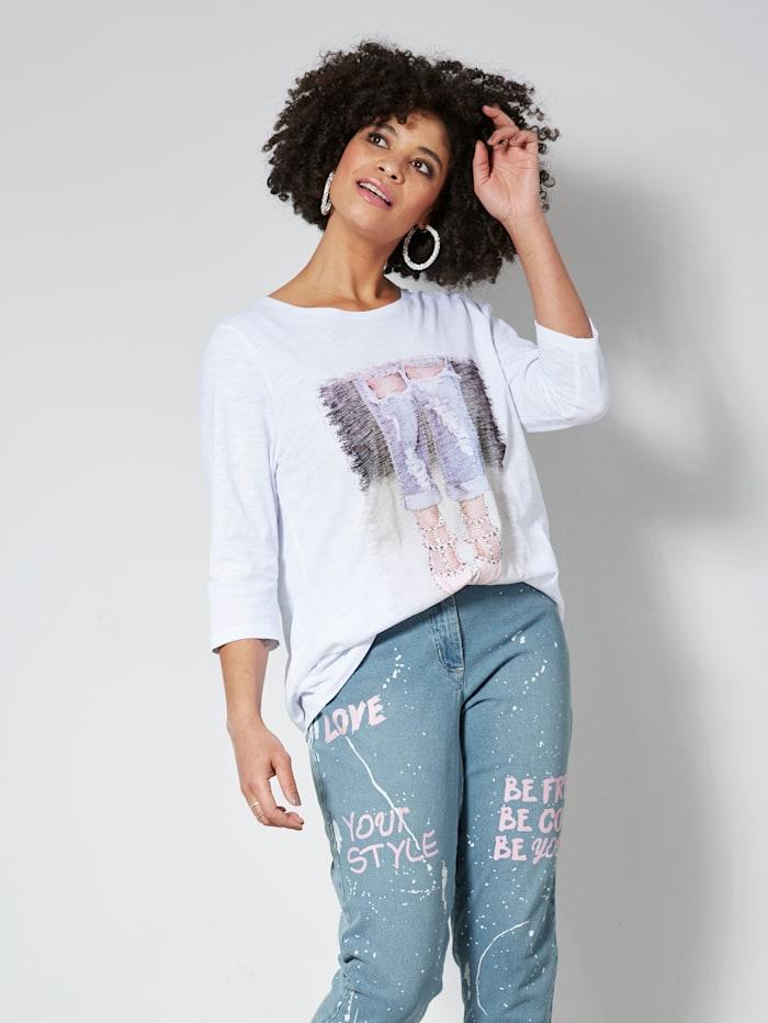 Angel of Style Shirt mit Frontprint und Steinchen-Deko, Weiß