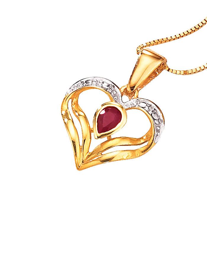 Parure 2 pièces: pendentif, chaîne, Rouge